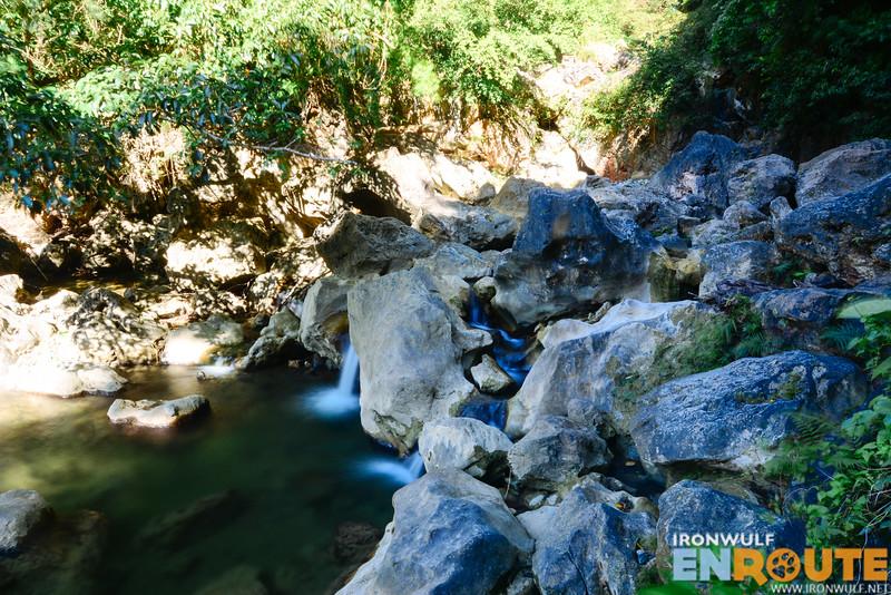 Water flowing through the limestone rocks