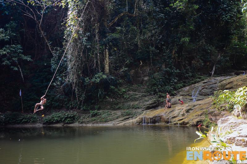 Young locals enjoying Garing Falls