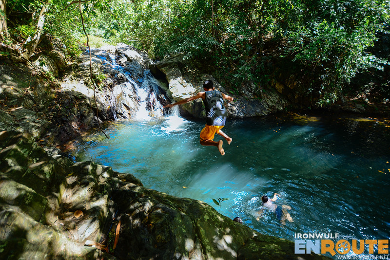 Locals enjoy jumping on the falls basin again and again