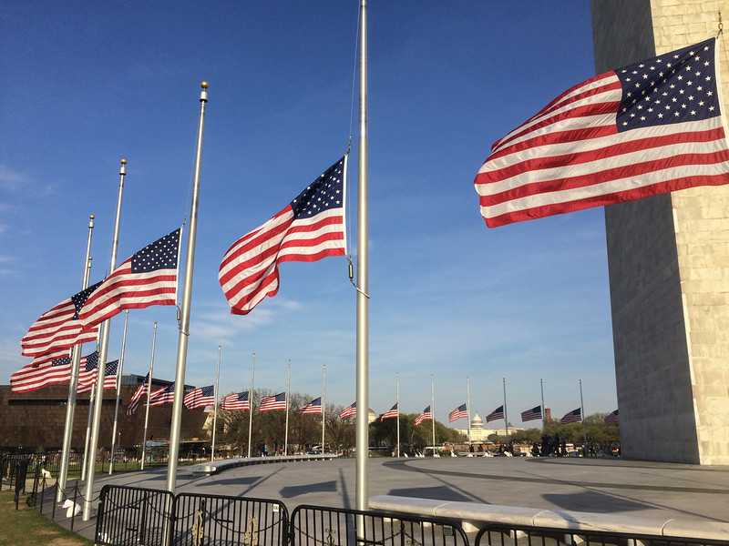 Flags at half-staff in honor of the Brussels attacks, Washington Monument.