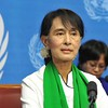 Aung San Suu Kyi speaking at the United Nations last Month (Wiki).
