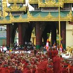 Monk-led Saffron Revolution in 2007, on the Shwedagon platform (wiki).
