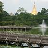 Rangoon's Kandawgyi Lake and Shwedagon Pagoda.