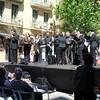 Preparing for Sunday morning concert on Gaudi Blvd