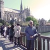 Dwaine on bridge to Notre Dame Cathedral