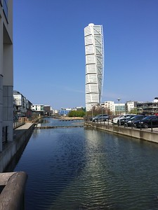 Turning Torso (by Calatrava) and some boat houses in Malmö.