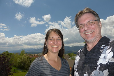 Us on the upper deck with the mountains in the distance.
