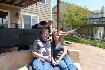 Jim photobombing us while we are sitting on the lower deck near the firepit.