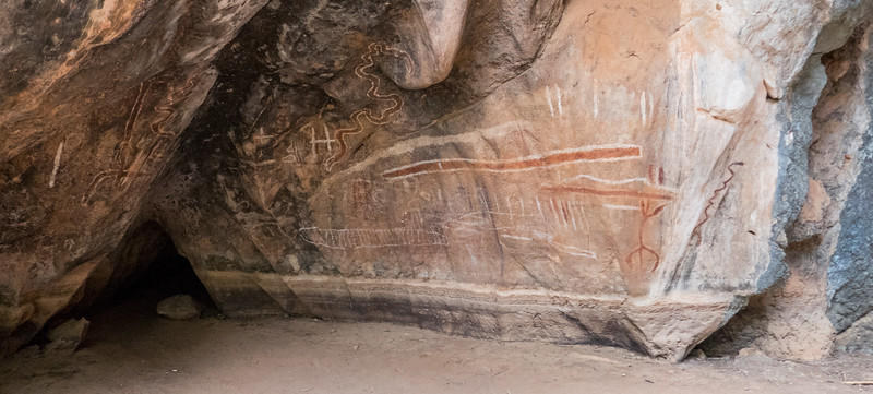 Aboriginal cave paintings in a shelter cave.