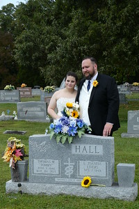 Brooke and Steven Hall by the grave of Steven's Dad.