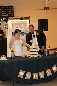 Brooke and Steven cutting their cake.