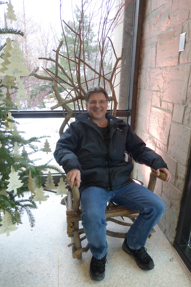 Mike relaxing in the branch chair.
