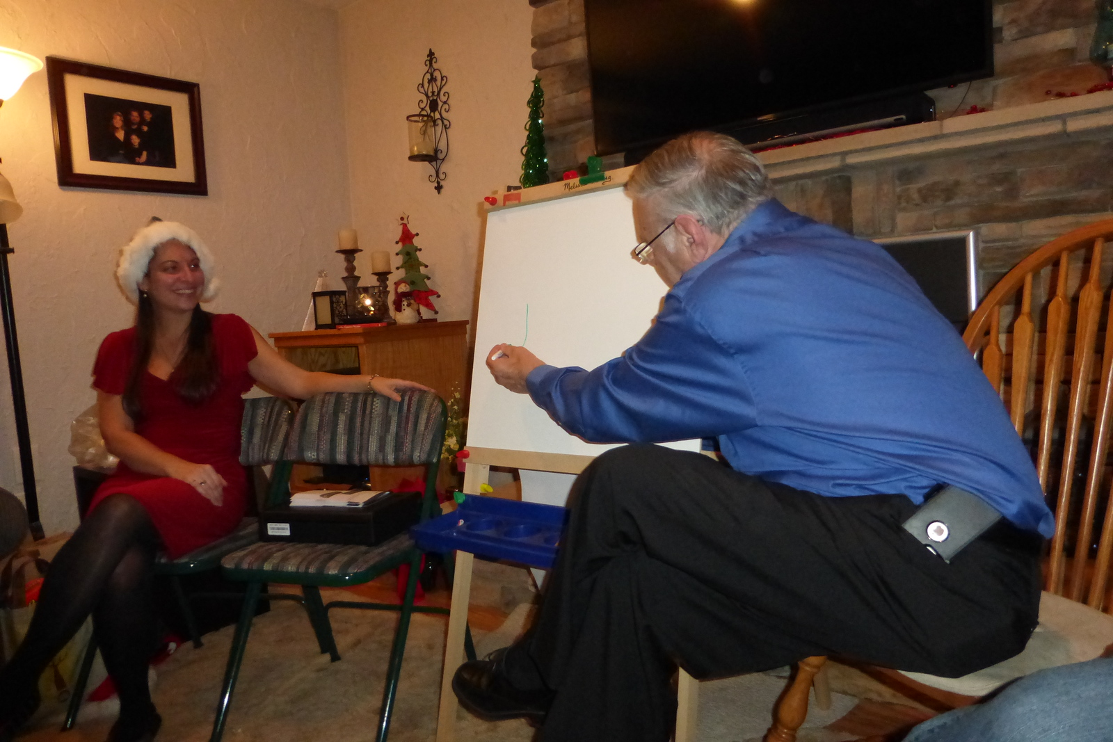 Bob drawing for the Pictionary game.