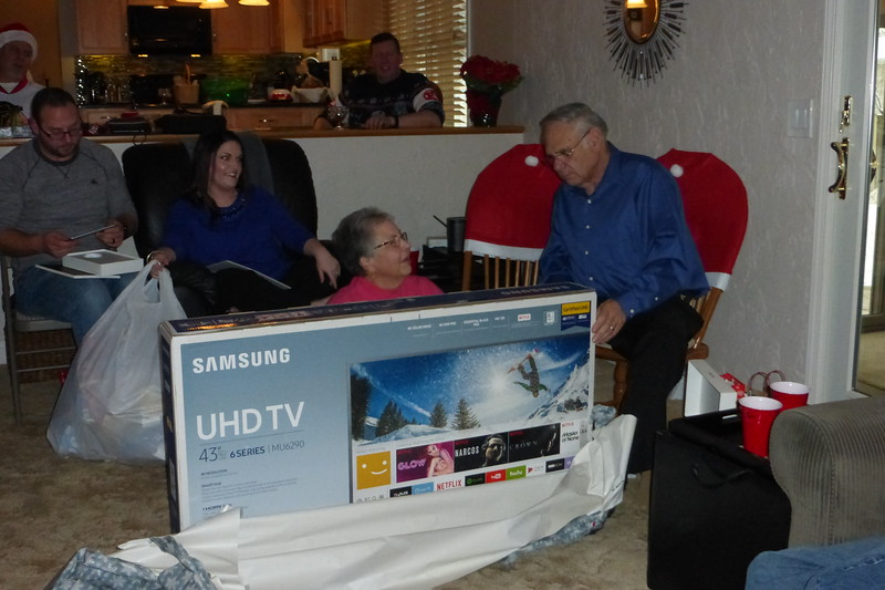 Beverly and Bob got a new TV from us kids.