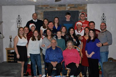 Schwab Family 2017 (top left) Dave, Lauren, Samantha, Andrew, Jacob (middle left) Katie, Tori, Aaron, Jim, Karla, Doug, Mike, Dan (bottom) Ashley, Debbie, Matt, Coco (dog), Ally, Diane, Tracy  (chairs) Dad/Grandpa and Beverly