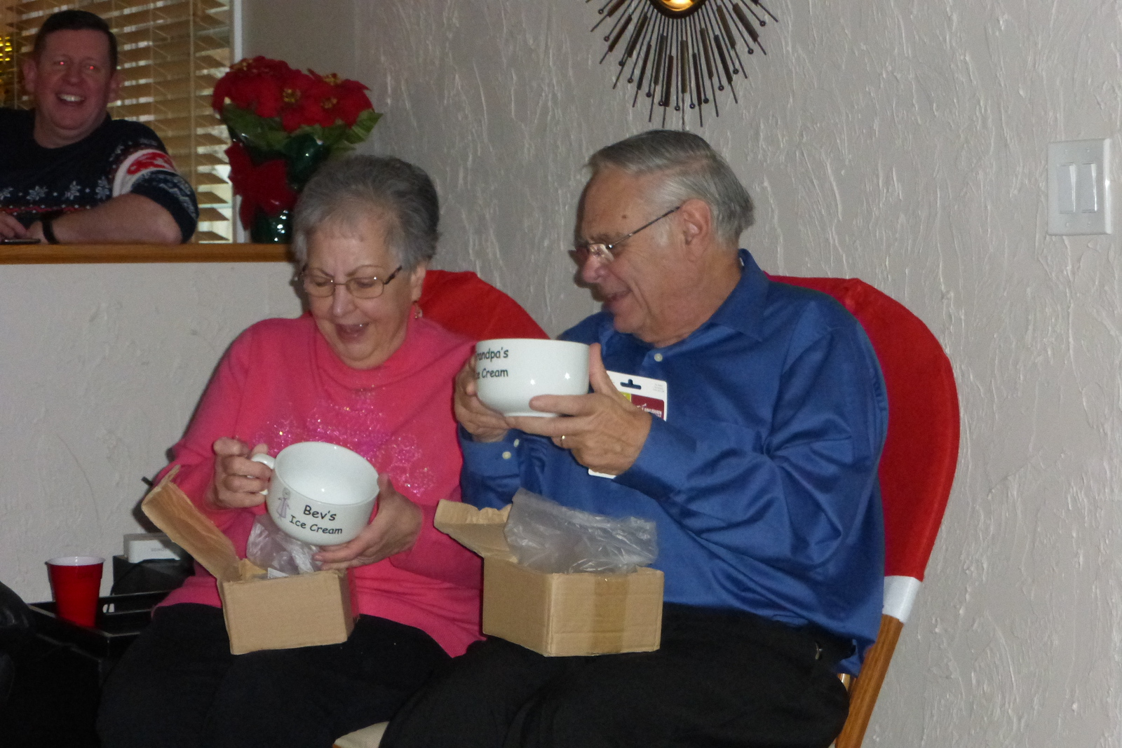 Beverly and Bob opening up their ice cream bowls.