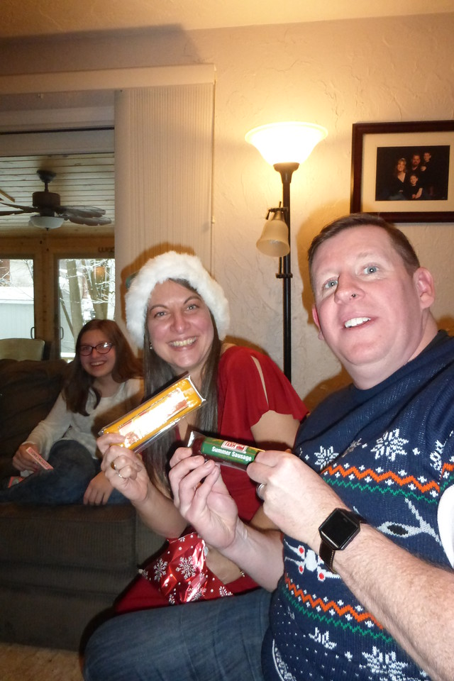 Diane and Jim got the gag gifts from the Left/Right game. (Cheese and Sausage)