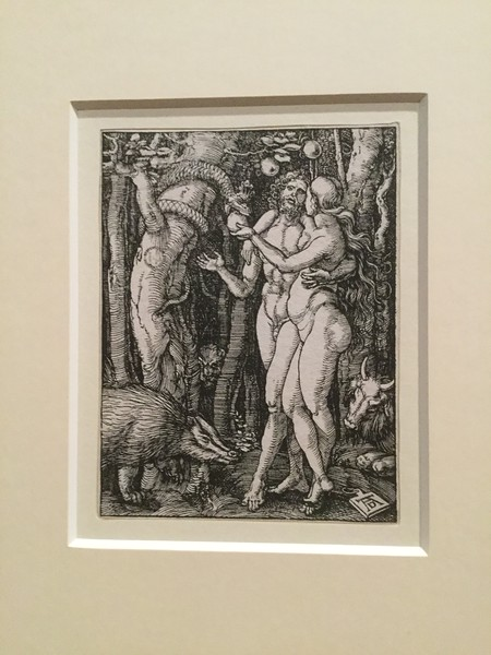 Dürer's take on Adam and Eve and the temptation, from 1510. A fine malevolent badger.
