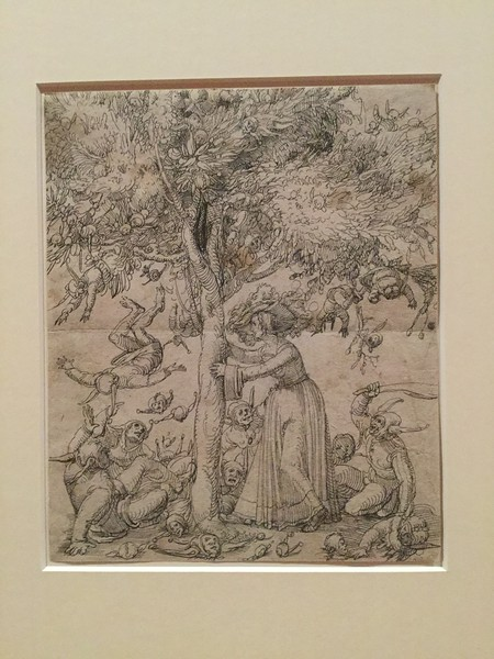 There were several works on the theme of sexual desire making fools of men - particularly of old men courting young women. Here the woman is shaking down the fruit of the idiot-tree. The foliage is very nicely depicted, and the exaggeration makes the idea seem good-humoured (compared with many of the works).