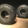 Carved truck tyres. They had a very strong smell of rubber.