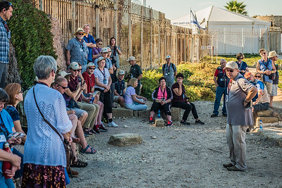 Our group has arrived at Caesarea (Maratima) along the coast of the Mediterranean Sea. Micky begins our first of many history lessons.