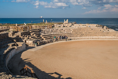 "Archeological highlights at Caesarea include, ""a temple dedicated to Caesar; a hippodrome rebuilt in the 2nd century as a more conventional theater; the Tiberieum, which has a limestone block with a dedicatory inscription.[6] This is the only archaeological find with an inscription mentioning the name ""Pontius Pilatus""; a double aqueduct that brought water from springs at the foot of Mount Carmel; a boundary wall; and a 200 ft (60 m) wide moat protecting the harbour to the south and west. The harbor was the largest on the eastern Mediterranean coast."" (Wikipedia)"