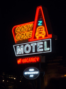 Cozy Cone sign, Cars Land