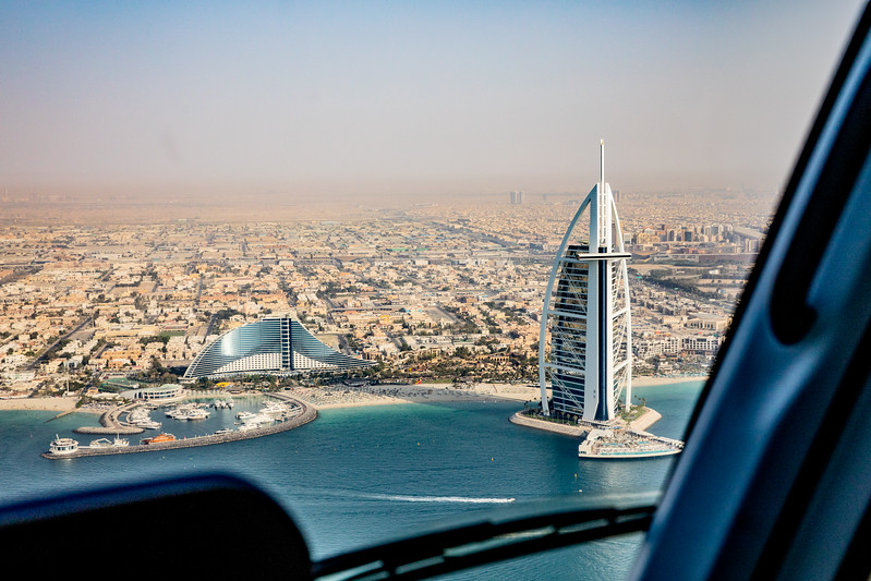 Burj Al Arab hotel helicopter view