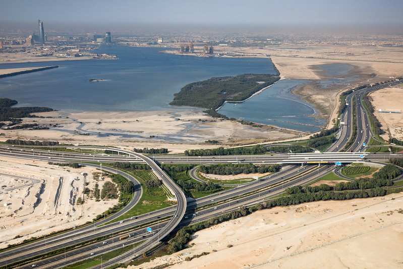 Dubai highway helicopter view