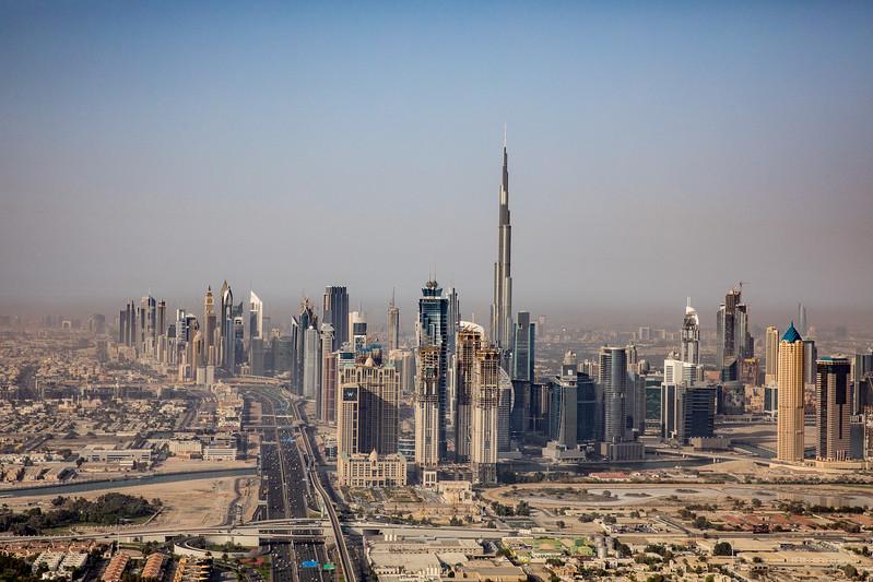 Dubai Burj Khalifa helicopter view
