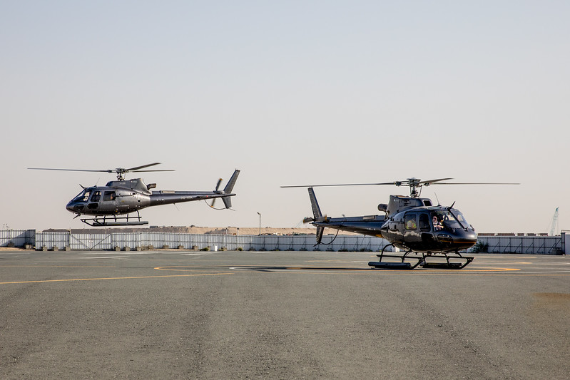 Dubai two helicopters