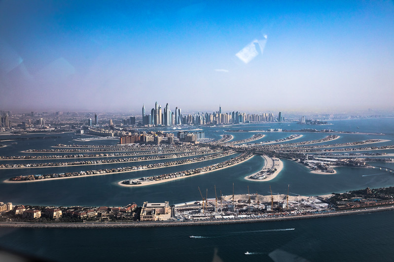 The Palm Dubai helicopter view