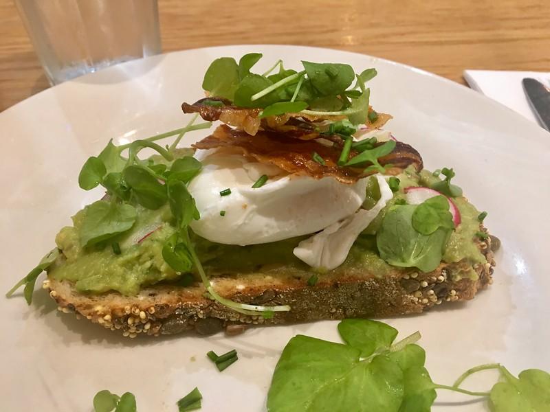 Breakfast at Heathrow - Avocado Toast w/ watercress