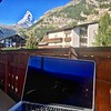 Catching up on email from my hotel balcony<br /> (La Ginabelle, Zermatt)