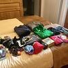 Repacking my backpack before sending my duffel off to Zermatt
