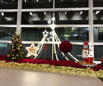 Quick shot of holiday decorations at Hong Kong airport.