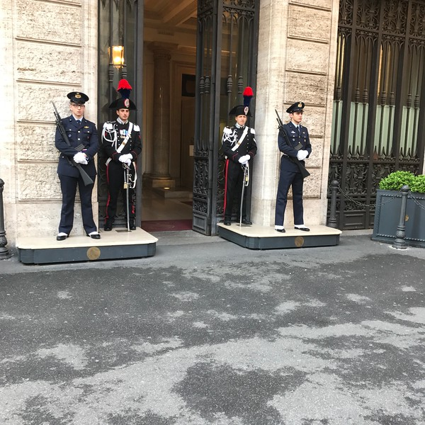 Guarding a government building, Rome