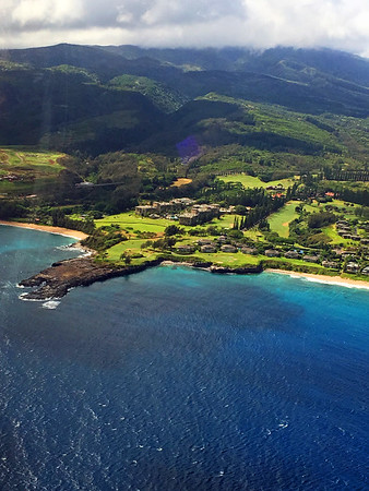 Arial view of the famed 5th hole of the Kapalua Bay Course we played.