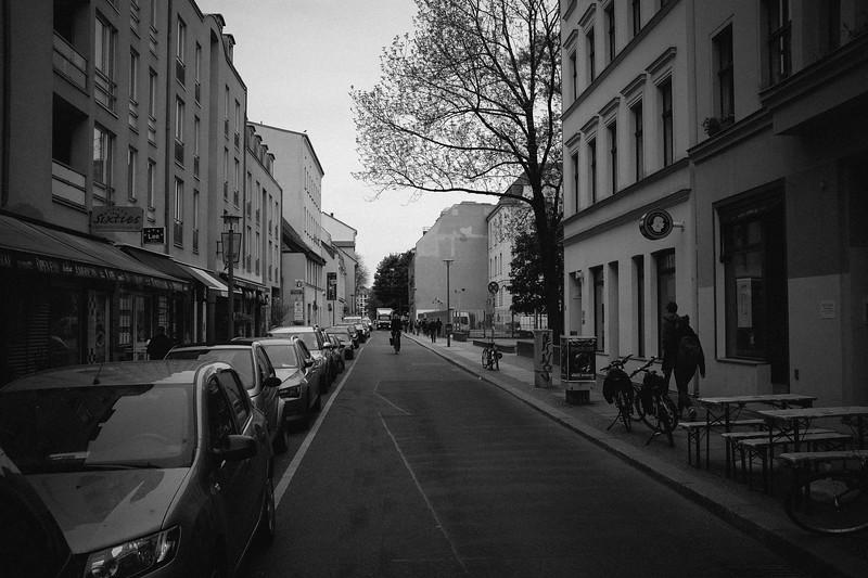 Berlin. Street outside hotel.