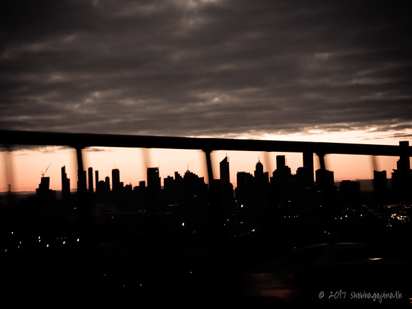 Melbourne skyline, taken from the car