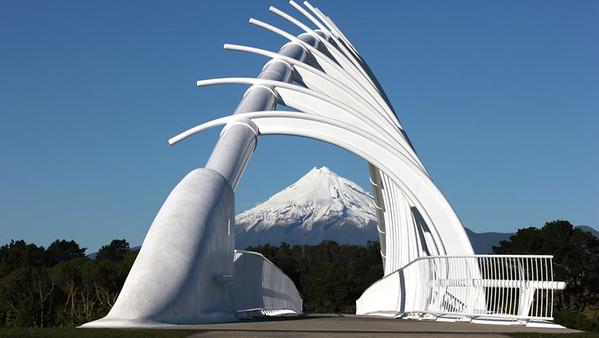 Te Rewa Rewa Bridge with Mt Taranaki