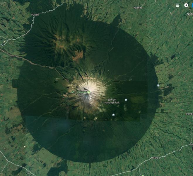 Googlemaps satellite view of Mt Taranaki