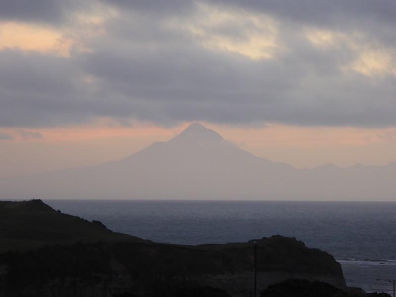 Mt Taranaki as seen from Mokau Motel