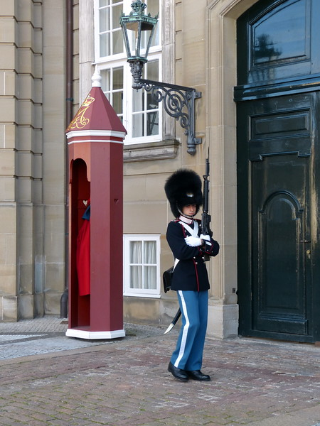Amalienborg is famous for its Royal Guard, called Den Kongelige Livgarde. Every day you can experience the changing of the guards, as they march from their barracks in 100 Gothersgade by Rosenborg Castle through the streets of Copenhagen and end up at Amalienborg, where the changing of the guard takes place at 12:00 noon.<br /> <br /> Surrounding the palace square with its statue of King Frederik V from 1771, Amalienborg is made up of four identical buildings. These are Christian VII's Palace (also known as Moltke's Palace, used as guest residence), Frederik VIII's Palace (also known as Brockdorff's Palace, home of the Crown Prince family), Christian IX's Palace (also known as Schack's Palace, home of the Queen and Prince Consort) and Christian VIII's Palace (also known as Levetzau' Palace, used as guest palace for Prince Joachim and Princess Benedikte).