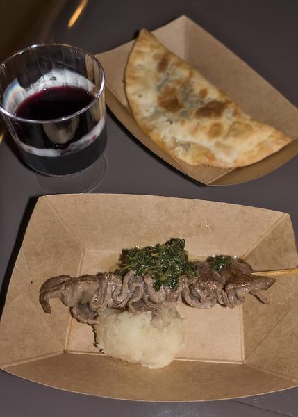 Patagonia: Beef Empanada and Grilled Beef Skewer