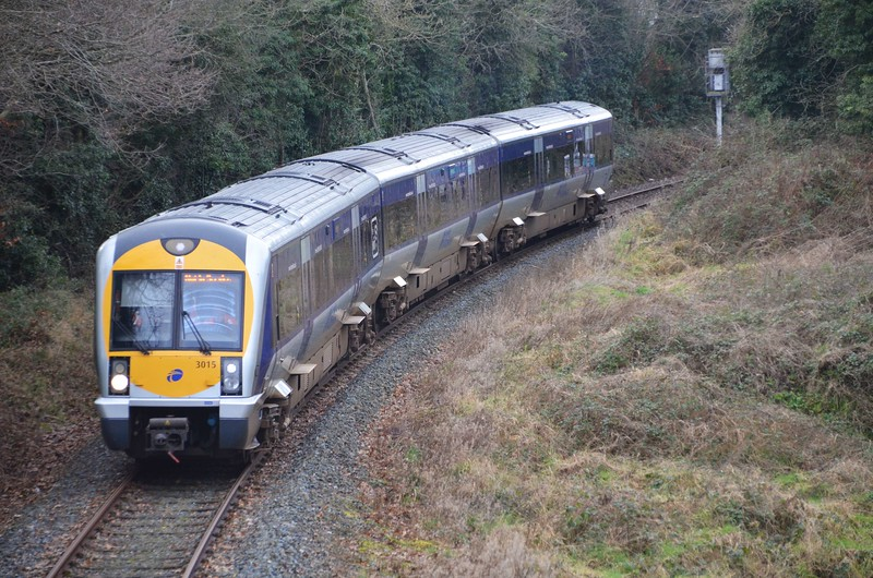 3015 approaches Antrim on the branch from Lisburn, ''Antrim branch route learning special.'' Weds 25.01.17<br /> <br /> A pool of drivers are being refreshed on the closed Lisburn - Antrim branch line in advance of future engineering train transfers that will require the use of the branch to and from Antrim. Weds 25.01.17