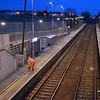 Cold weather across the railway networks means surfaces may be slippery. As a precaution, Grit is laid across each platform each night to ensure surfaces have extra grip for customers. A member of the infrastructure team can be seen gritting Clipperstown platform. Tues 21.03.17