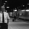 Belfast based Train Manager, Tommy Dowds, patiently waits departure with the 2050 Dublin Connolly / Belfast Central. Fri 08.09.17