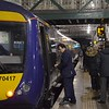 The guard completes his dispatch duties at Edinburgh Waverley before departure to Glasgow Queen Street. Sat 02.12.17