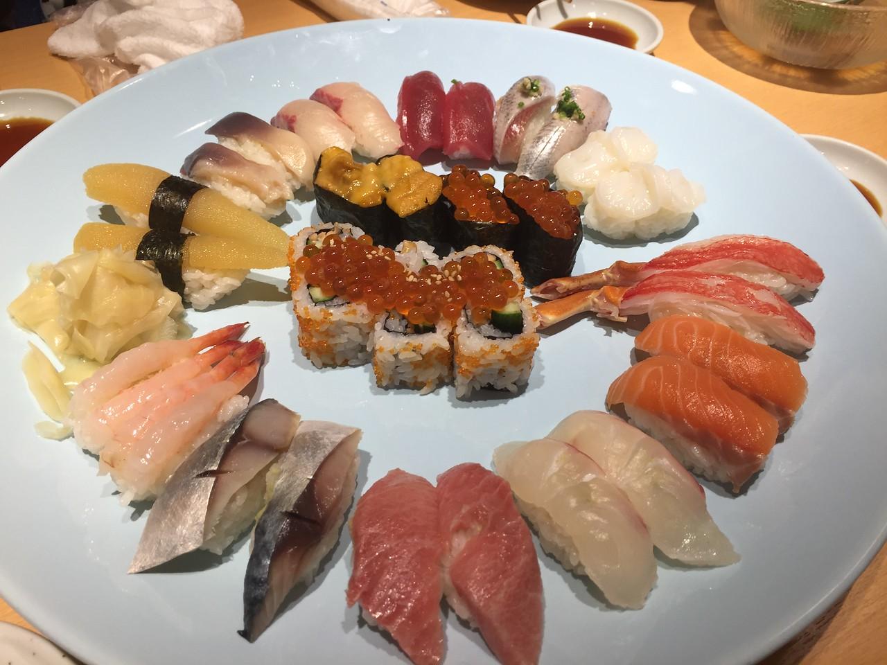 Sushi at a restaurant in Tsukji Market.